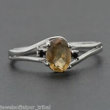 925 Solid Sterling Silver Natural Smoky Quartz & Spinal Gemstone Ring Jewelry UK