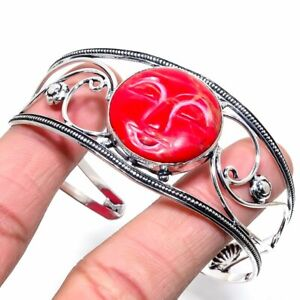 Moon Face - Copper Red Turquoise Gemstone Jewelry Cuff Bracelet Adst. ZC-409
