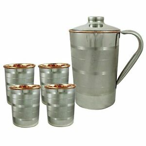 Handmade Silver Polished 1000ml Pure Copper Water Pitcher Jug With 4PC Tumbler