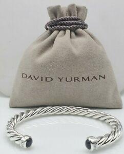David Yurman Sterling Silver 6mm Classic Cable w/Black Onyx Cuff Bracelet Sz M