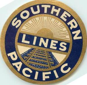 SOUTHERN PACIFIC RAILROAD LINES - Great ART DECO Luggage Label, c. 1945   MINT