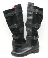 Cole Haan Women's Air Avalon Black Riding Boot Leather/Suede Size 8 B
