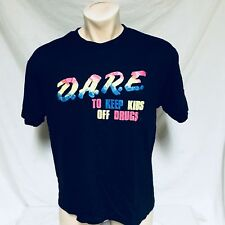 VTG Dare Drugs T Shirt Neon Poly Cotton Rainbow Original Bright Thin School XL