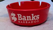 "Barbados Banks Beer Ash Tray Plastic 4"" Round New Pretty Red melmac tobacco ash"