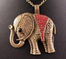 Alloy Red Rhinestone Rustic Elephant Pendant Necklace w/Free Jewelry Box/Ship