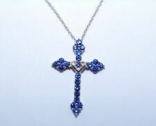 Sterling Silver/10k Yellow Gold Created Sapphire Cross Necklace: 1.3ctw  <321>