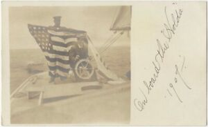 1907 Yacht with American Flag Real Photo Postcard Ship Boat Maritime Racing