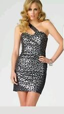 Lipsy Silver Leopard Party Cocktail dress Uk6 Rrp£65 Used In Mint Condition