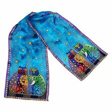 Laurel Burch - Colorful Cats Celestial Felines 100% Silk Scarf