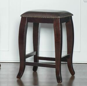24 in Traditional Counter Stool Padded Solid Wood Kitchen Dining Seat Dark Brown