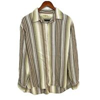 Tommy Bahama Mens Size Large Brown Striped Tencel Long Sleeve Button Down Shirt