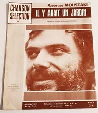 Partition vintage sheet music GEORGES MOUSTAKI : Il y avait un Jardin * 70's