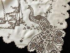 PEACOCKS Antique Linen Tablecloth 6 Napkins Madeira Dense Hand Embroidery 40x42