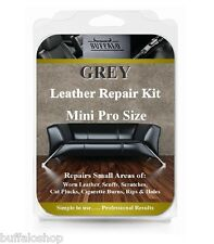 GREY Mini Pro Car Leather / Vinyl Repair Kit - Holes, Rips, Scuffs, Worn Areas