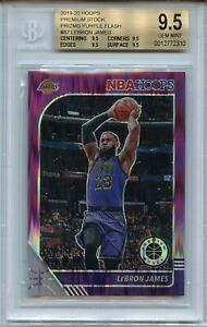 2019-20 NBA Hoops Premium Lebron James BGS 9.5 PURPLE Flash Prizm 29/35 Lakers