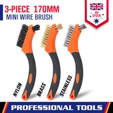 3-Piece Wire Brush Set Brass Stainless Nylon Scooter Welding Slag Rust Machine