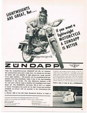 1966 Zundapp KS 100 Motorcycle Girl Wearing Lederhosen Vintage Print Ad