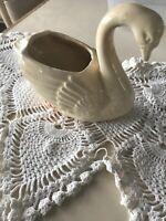 VTG Brush McCoy Pottery Ceramic Swan Yellow Planter Bottom Mark