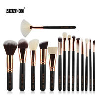 Pro 15 Pcs Makeup Set Powder Foundation Eyeshadow Eyeliner Lip Cosmetic Brushes