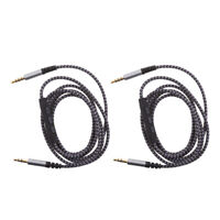 2x 3.5mm AUX Braided Stereo Audio Cable (Male to Male) Remote Volume Mic