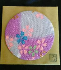 "Vintage Japanese Swatch Large Button-Like Cloth Art 2.75"" Square Mount"