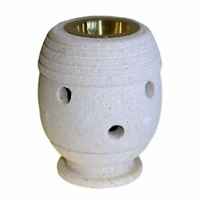 Ancient Wisdom Hand Carved Sandstone Oil Burner With Brass Tray-Classic Shape