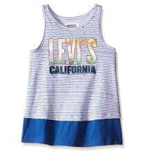 Levi's Girls' Cotton Sleeveless California Blue Stripe Knit Tank - Size 4 XS