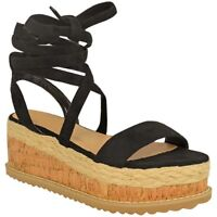 Hot Sale Women Ladies Flatform Cork Espadrille Wedge Sandals Ankle Lace Up Shoes