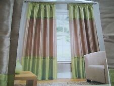 Faux silk lined curtains in green & taupe 90x90 Heading tape top  BNIB