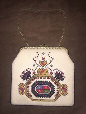 Vintage 1930's Ivory Floral Fabric Needlepoint Purse - Bag chain