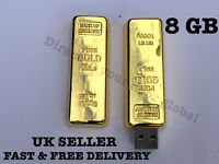 8GB Gold Bar Style USB 2.0 Flash Drive Memory stick, Bank of Memory, Novelty UK