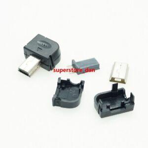 5X Mini USB 10 Pin Port Male Plug Socket Connector Right Angle & Plastic Cover