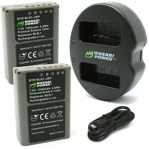 Wasabi Power Battery (2-Pack) and Dual Charger for Olympus BLN-1, BCN-1