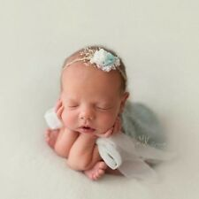 White and Green Newborn Flower Fabric Headband Tieback Newborn photo prop