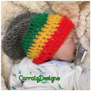 HANDMADE Baby boy girl rasta Jamaican Bob Marley style slouch beanie hippie hats