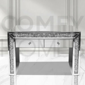 Mirrored Crushed Crystal Dressing Table 2 drawer - FREE DELIVERY AVAILABLE