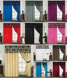 Stunning Damask Pair Of Pencil Pleat Window Curtains Half Flock Curtain With Tie
