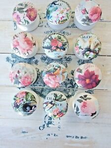BIRDS AND FLOWERS 'SHABBY CHIC' WOODEN DECOUPAGE KNOB FOR CUPBOARDS/ DRAWERS