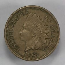 1862 1c INDIAN HEAD SMALL CENT, XF+ COIN LOT#V697