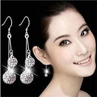 1Pair Women Silver Plated Crystal Ear Stud Earrings Hook Dangle Gift Jewelry TR