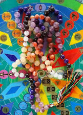 "28"" KNOTTED CHAKRA CRYSTAL GEMSTONE JAPA MALA NECKLACE,108 PRAYER BEAD ROSARY"