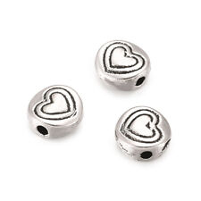 50 Tibetan Alloy Coin Metal Beads Carved Heart Antique Silver Tiny Spacers 6.5mm