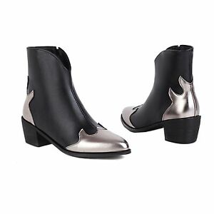 Women's 5cm Mid Block Heel Pointed Toe Shoes Zip Microfiber Leather Ankle Boots