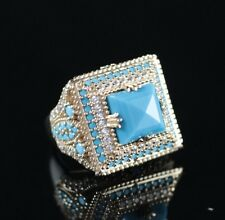 925 Sterling Silver Handmade Authentic Turkish Turquoise Ladies Ring Size 9,5