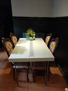 Industrial 4 seat dining kitchen table, metal stitching gold copper