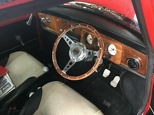 "ROVER AUSTIN MINI COOPER 13"" WOOD STEERING WHEEL WITH COOPER BOSS KIT"