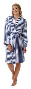 LADIES NAVY STRIPED PRINT SATIN WRAP .DRESSING GOWN  sizes 8 to 20 In12851)