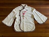 VINTAGE 1960s 70s DAFFODIL COTTON FLORAL CREAM EMBROIDERED CHEONGSAM TOP S