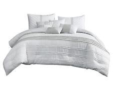 7-Pc Zen Comforter Set|Embossed Diamond Square Pintuck Stripe|White Gray|Queen