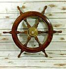 Pirate Brass Wooden Ship Wheel Vintage Boat Stairing Nautical Decorative Item